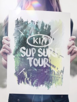 ONAD grafisk bureau har designet grafiske plakater til Kia Sup Surf Tour for KIA Motors, Aarhus