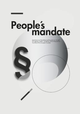 Plakatdesign i minimalistisk nordisk stil med lyse gråtoner og legende Komposition