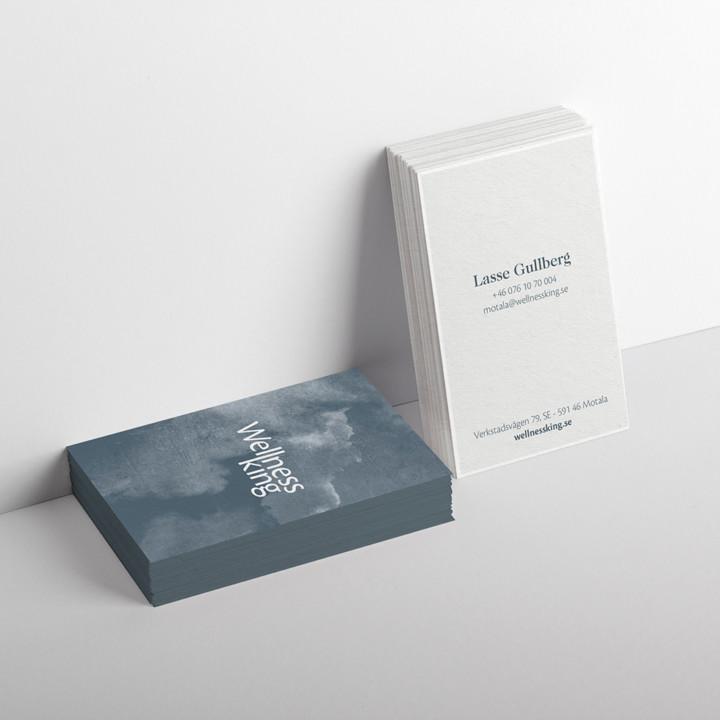 Visitkortdesign for luksusbrand Wellness King designet af ONAD