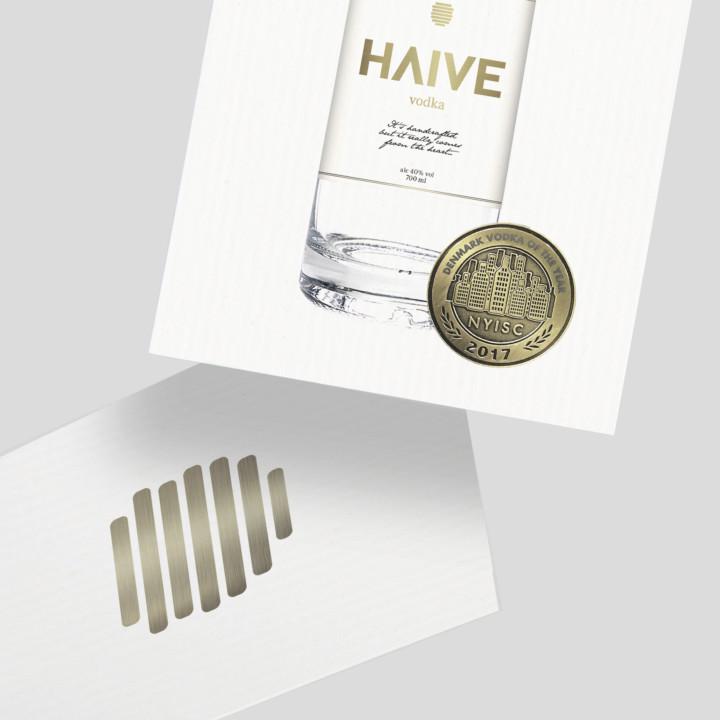 Haive Vodka emballagedesign med guldfolio designet af ONAD